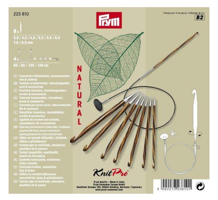 Prym KnitPro Natural Tunische Haaknaalden set 3,5 - 8mm