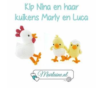 Marlaine Haakpakket Kip Nina met Kuikens Marly en Luca