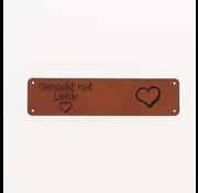 Marlaine Leren label 'Gemaakt met liefde' 15x75mm Chestnut