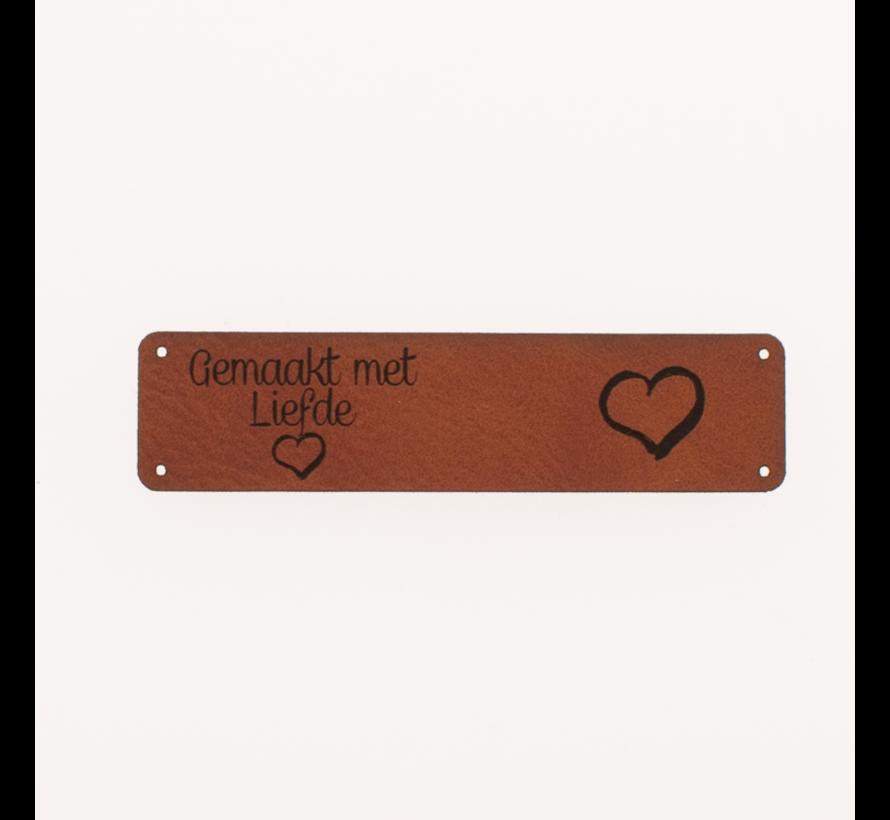 Leren label 'Gemaakt met liefde' 15x75mm Chestnut