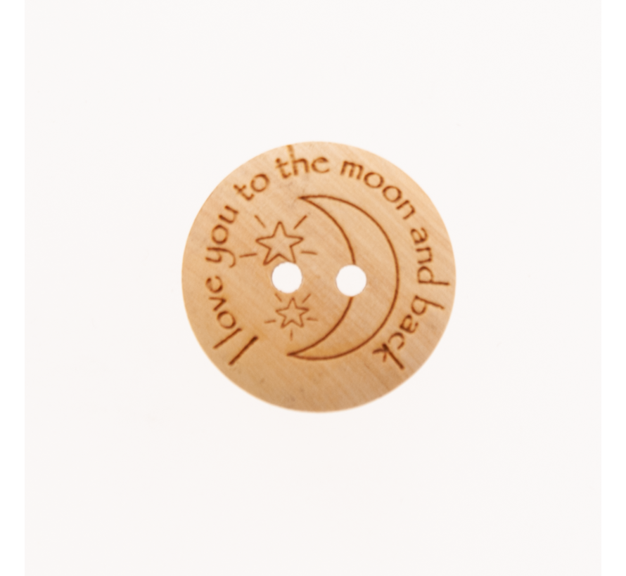 Knoop I love you to the moon and back 20mm 3 stuks