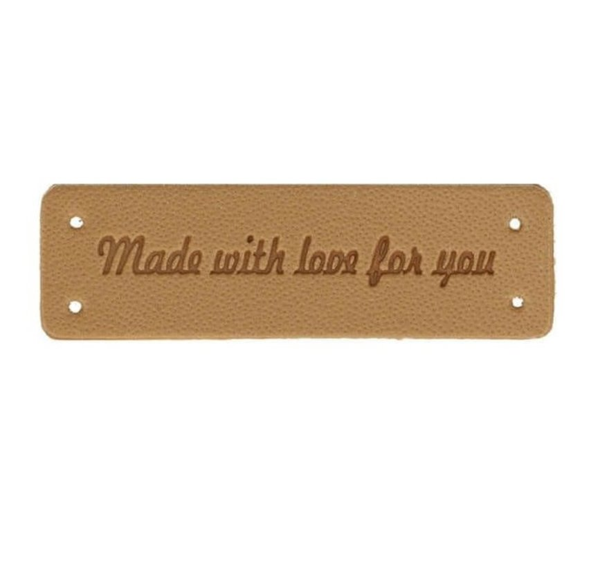 Leren label 'Made with love for you' 15x50mm