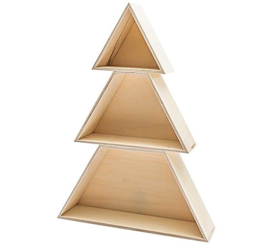 Houten box kerstboom 3 delig