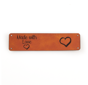 Marlaine Leren label 'Made with Love - Hart' 20x80mm Chestnut