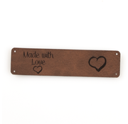 Marlaine Leren label 'Made with Love - Hart' 20x80mm Bay Brown