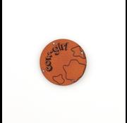 Marlaine Leren label 'Cow girl' rond 35mm Chestnut  - 2 stuks