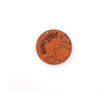 Marlaine Leren label 'Cow girl' rond 35mm Chestnut