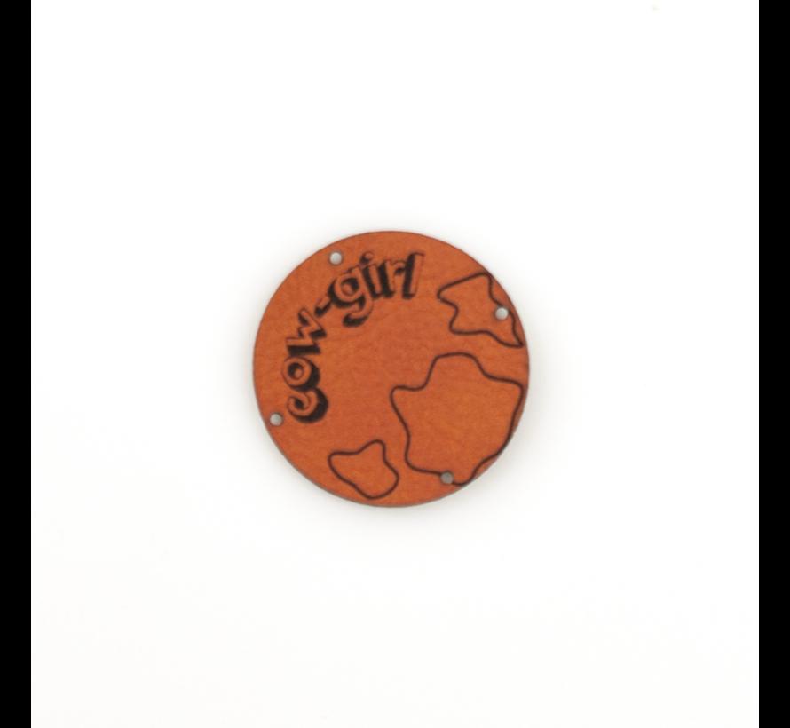 Leren label 'Cow girl' rond 35mm Chestnut  - 2 stuks