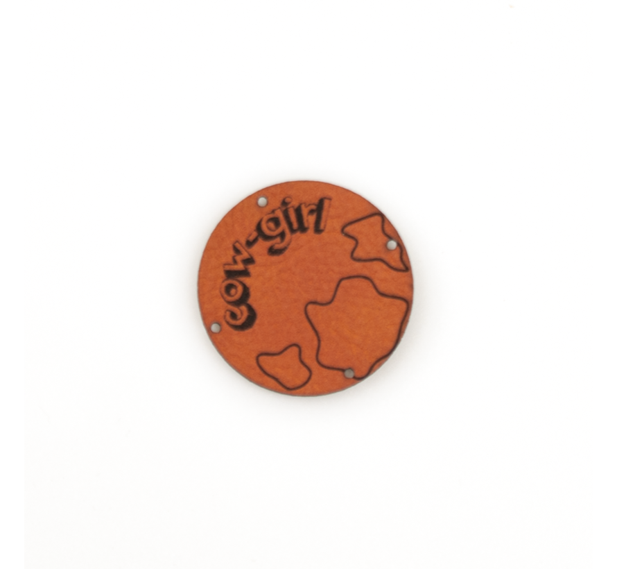 Leren label 'Cow girl' rond 35mm Chestnut