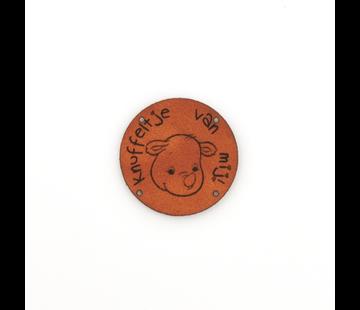 Marlaine Leren label Neushoorn 'Knuffeltje van mij' rond 35mm Chestnut - 2 stuks