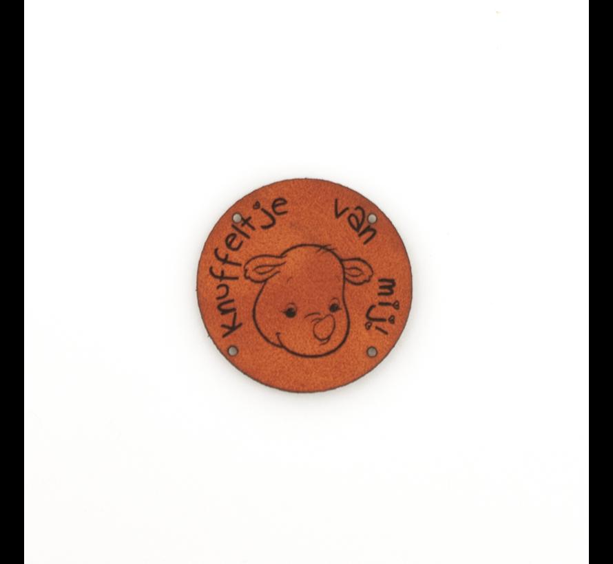 Leren label Neushoorn 'Knuffeltje van mij' rond 35mm Chestnut - 2 stuks