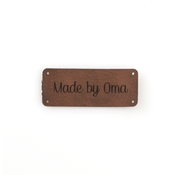 Marlaine Leren label 'Made by oma' 20x50mm Bay Brown