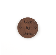 Marlaine Leren label 'Made by Mama' rond 35mm Bay Brown