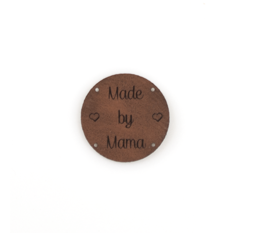 Marlaine Leren label 'Made by Mama' rond 35mm - 2 stuks Bay Brown