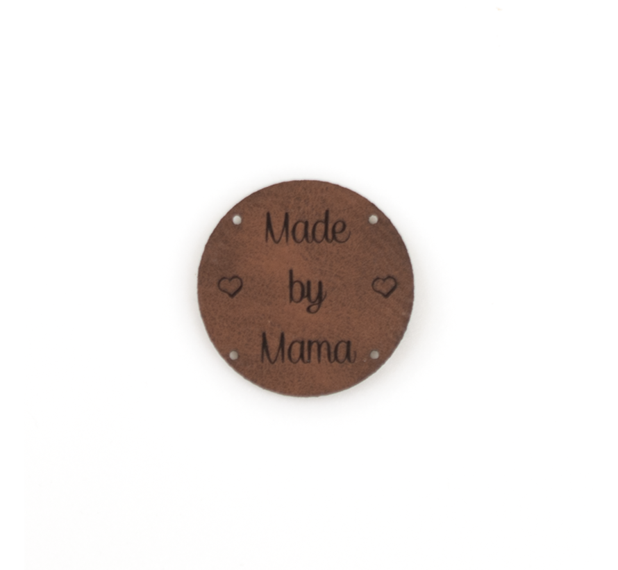 Leren label 'Made by Mama' rond 35mm - 2 stuks Bay Brown