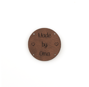 Marlaine Leren label 'Made by Oma' rond 35mm Bay Brown