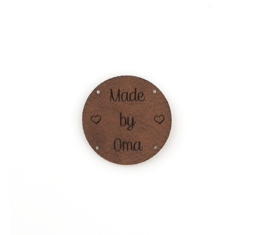 Marlaine Leren label 'Made by Oma' rond 35mm - 2 stuks Bay Brown