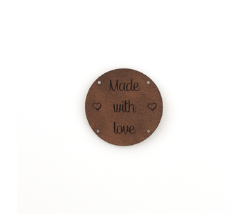Marlaine Leren label 'Made with Love' rond 35mm  - 2 stuks Bay Brown
