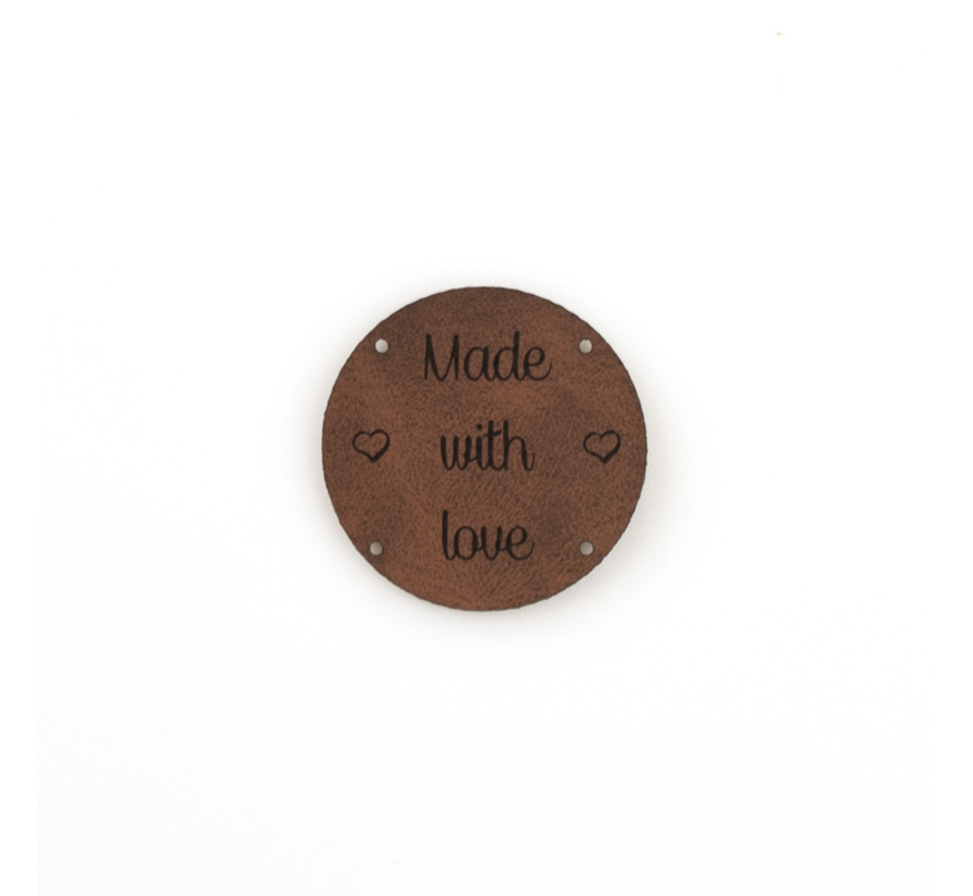 Leren label 'Made with Love' rond 35mm Bay Brown