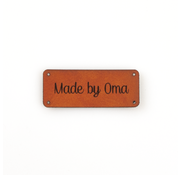 Marlaine Leren label 'Made by Oma' 20x50mm Chestnut