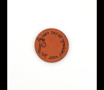 Marlaine Leren label Giraffe 'Met liefde gemaakt voor jou' rond 35mm Chestnut - 2 stuks
