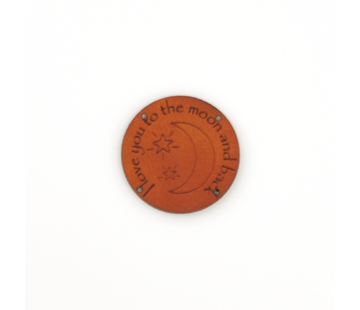 Marlaine Leren label 'I love you to the moon and back' rond 35mm Chestnut - 2 stuks