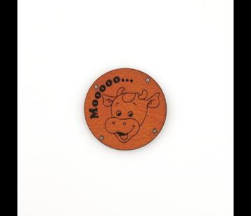Marlaine Leren label Koe 'Mooooo...' rond 35mm Chestnut - 2 stuks