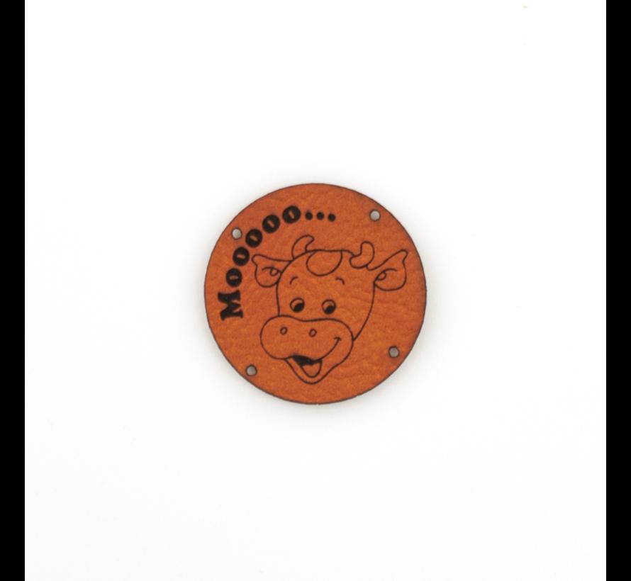 Leren label Koe 'Mooooo...' rond 35mm Chestnut