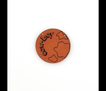 Marlaine Leren label 'Cow boy' rond 35mm Chestnut  - 2 stuks