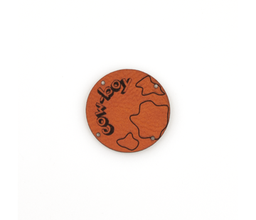 Marlaine Leren label 'Cow boy' rond 35mm Chestnut
