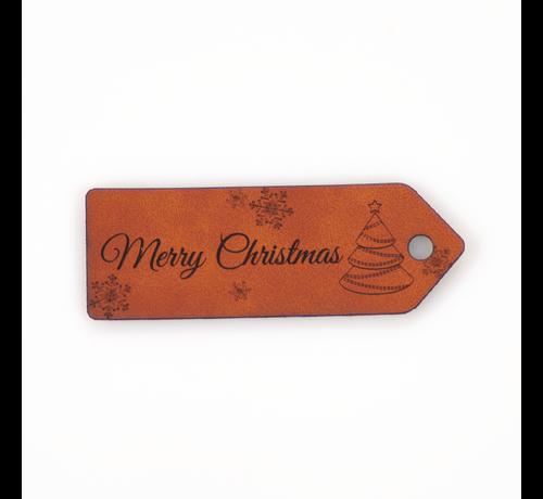 Marlaine Leren label 'Merry Christmas' 25x75mm Chestnut - 2 stuks