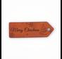 Leren label 'Merry Christmas' 25x75mm Chestnut - 2 stuks