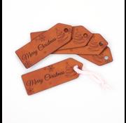 Marlaine Leren label 'Merry Christmas' 25x75mm Chestnut 5 stuks