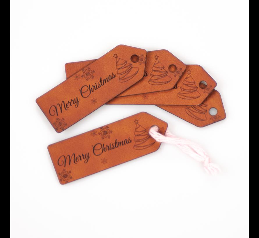 Leren label 'Merry Christmas' 25x75mm Chestnut 5 stuks