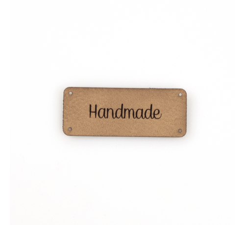 Marlaine Leren label 'Handmade' 20x50mm - 3 stuks