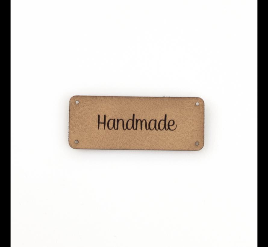 Leren label 'Handmade' 20x50mm - 3 stuks