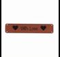 Leren label 'With Love' 15x75mm - 2 stuks