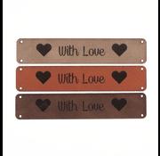 Marlaine Leren label 'With Love' 15x75mm - 2 stuks