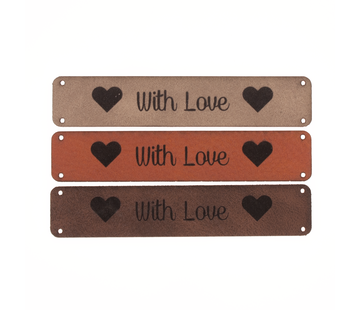 Marlaine Leren label 'With Love' 15x75mm - 2 stuks