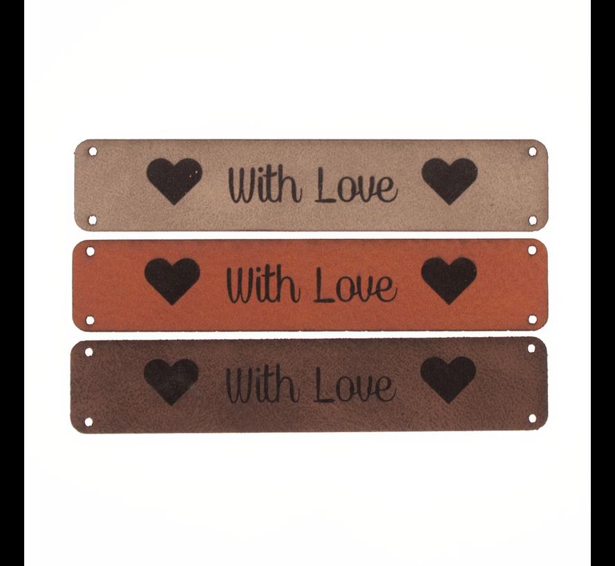 Leren label 'With Love' 15x75mm