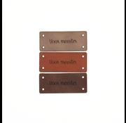 Marlaine Leren Label 'Voor meester' 15x35mm - 3 stuks