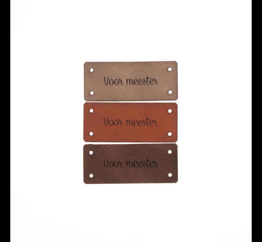 Leren Label 'Voor meester' 15x35mm