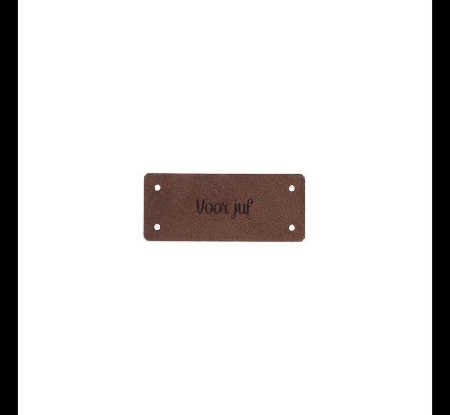 Leren Label 'Voor juf' 15x35mm