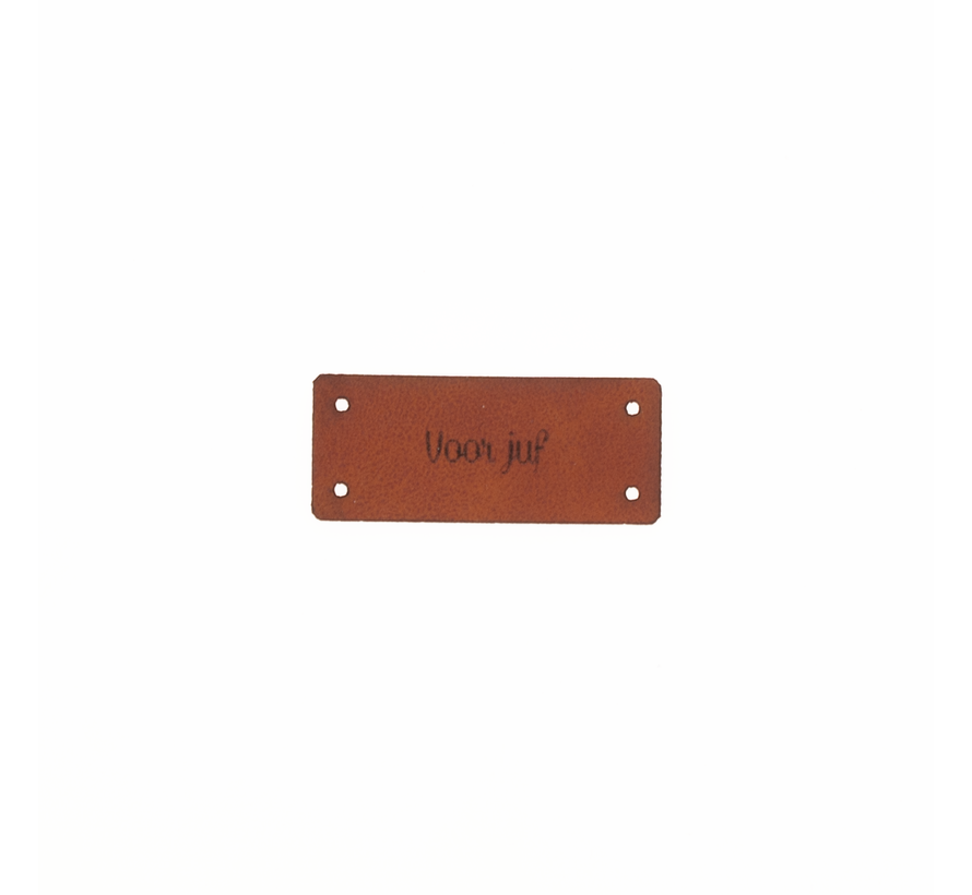 Leren Label 'Voor juf' 15x35mm - 3 stuks