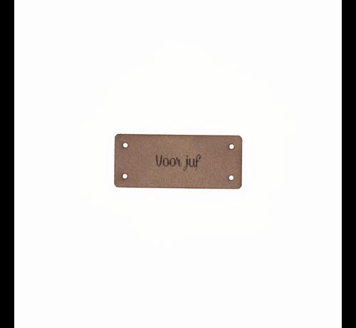Marlaine Leren Label 'Voor juf' 15x35mm - 3 stuks