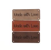 Marlaine Leren label 'Made with love' 20x50mm - 3 stuks