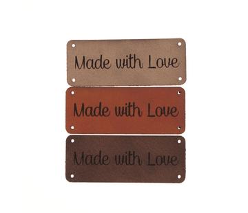 Marlaine Leren label 'Made with love' 20x50mm - 3 stuks