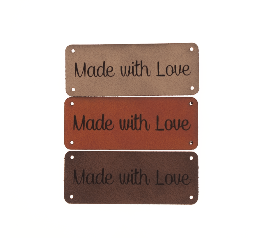 Leren label 'Made with love' 20x50mm