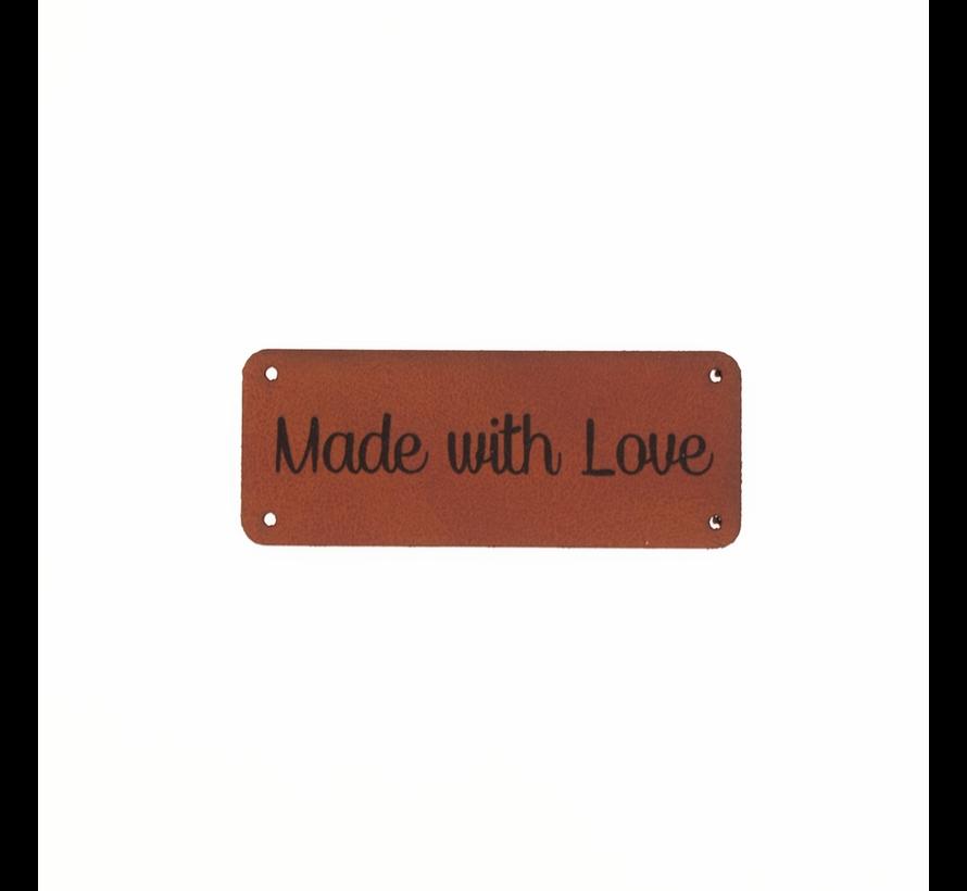 Leren label 'Made with love' 20x50mm - 3 stuks