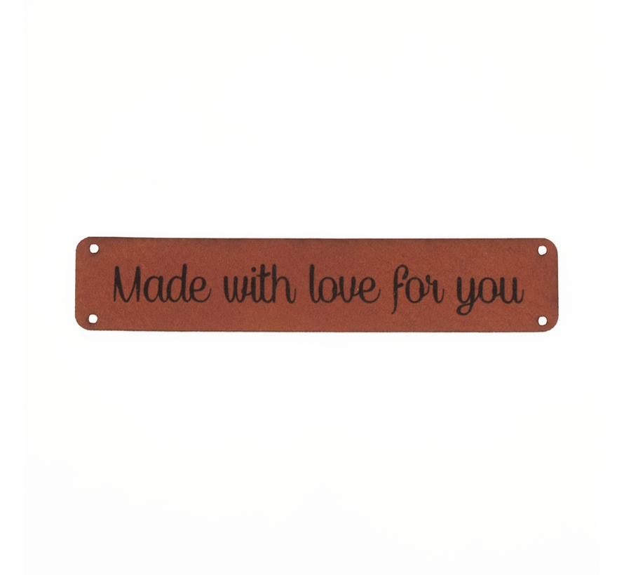 Leren label 'Made with love for you' 15x75mm - 2 stuks